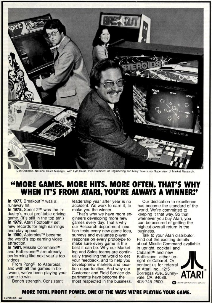 Ad featuring Asteroids, an arcade video game by Atari