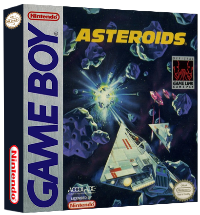 Asteroids, a video game for the Game Boy portable video game system