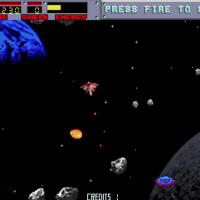 Gameplay image of Blasteroids, an arcade video game by Atari 1987