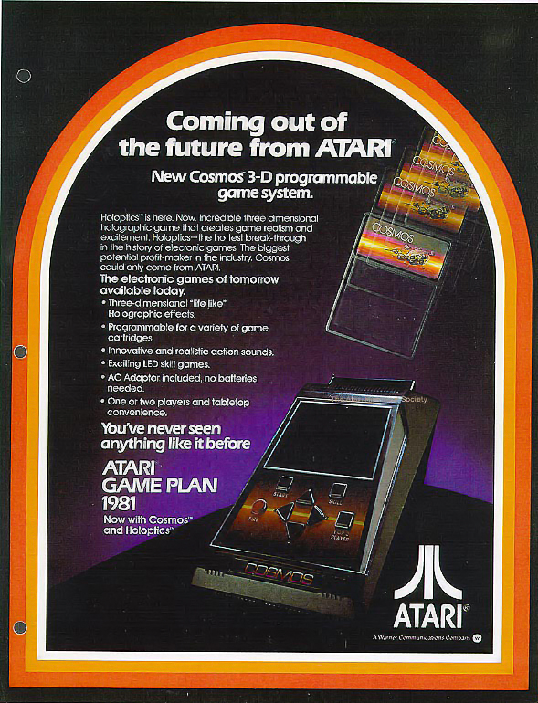 Sales sheet for Cosmos, a planned holographic handheld video game by Atari (unreleased)
