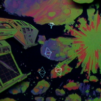 Gameplay from Asteroids Deluxe, an arcade video game by Atari 1980