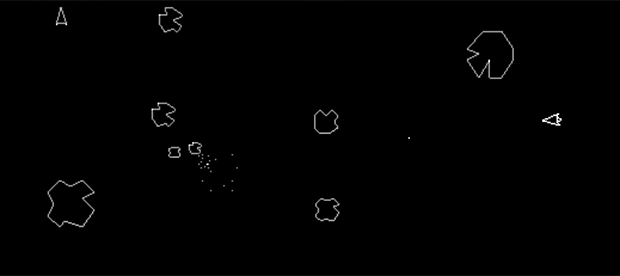 Gameplay from arcade version of Asteroids