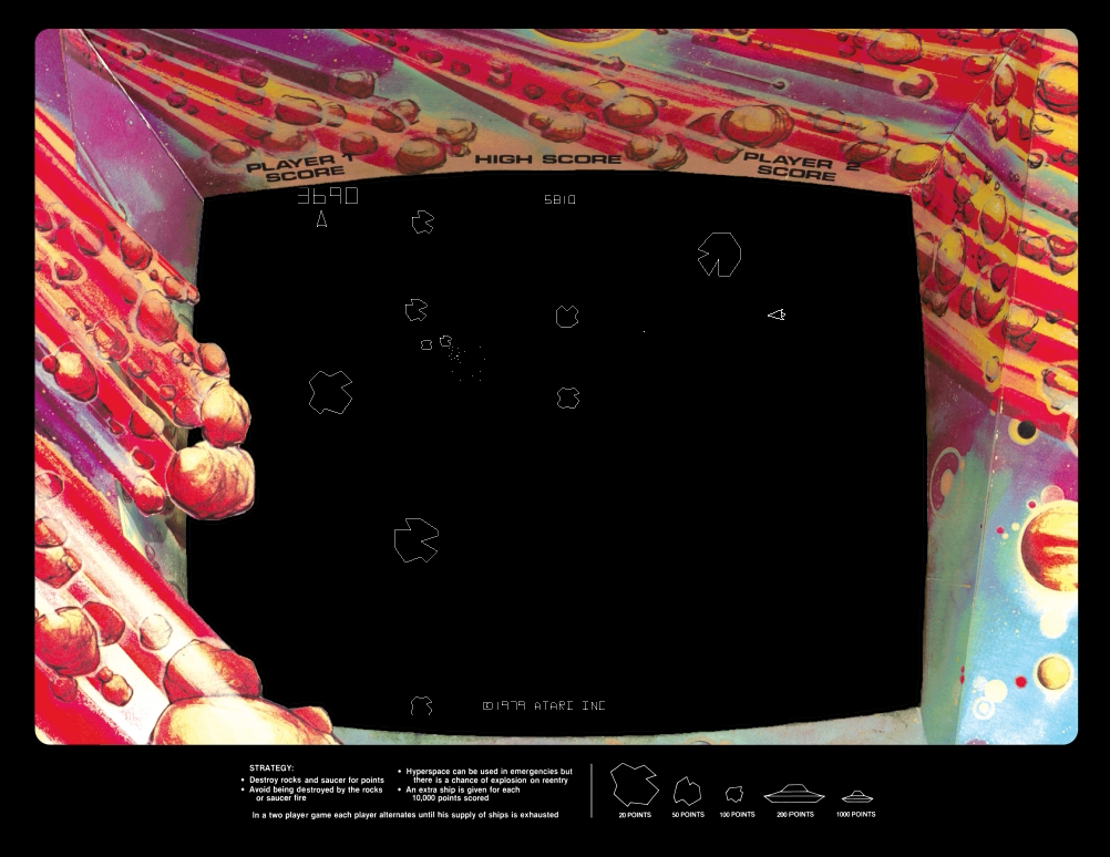 Gameplay image of Asteroids, an arcade video game by Atari 1979