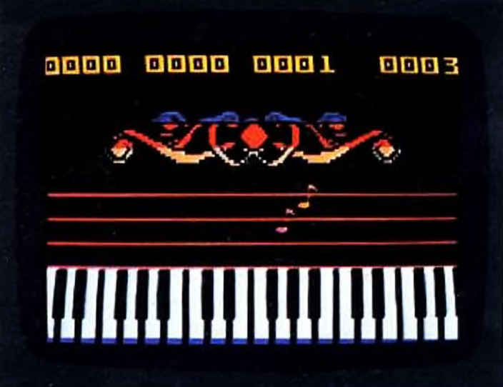 Astromusic, a game for the ECS, a home computer addon for the Intellivision home video game console, Mattel.