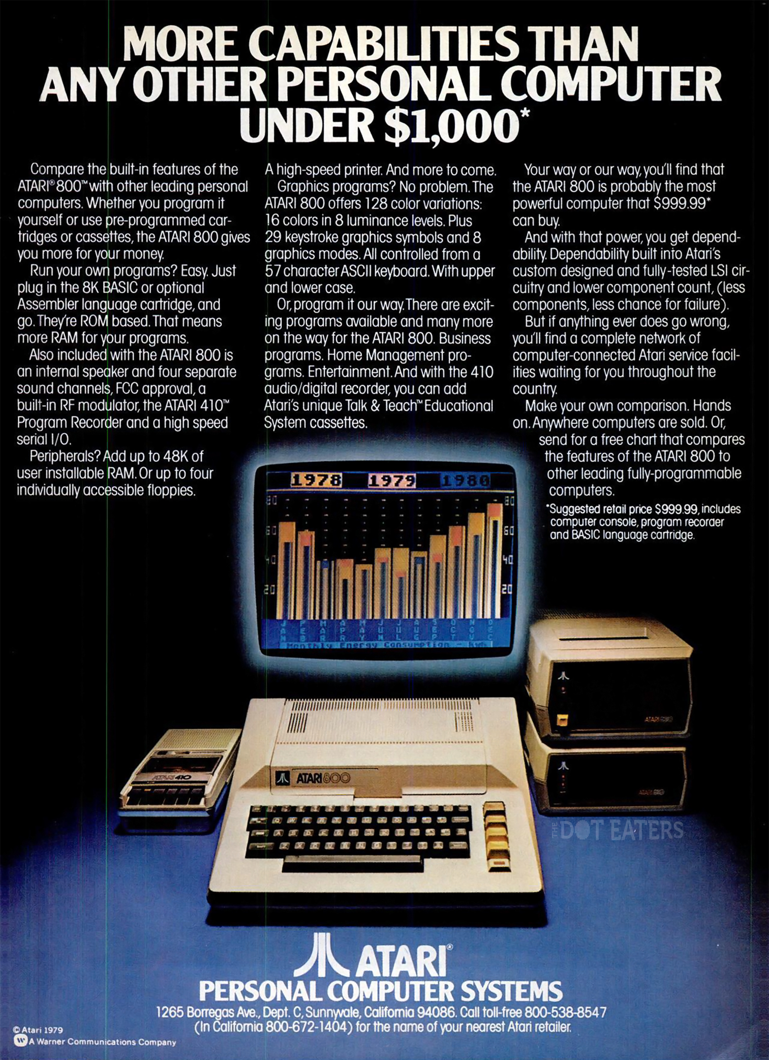 Ad for the 800 computer, by video game maker Atari