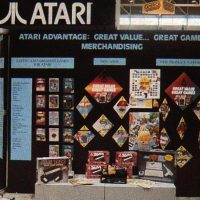 7800 and 2600 consoles on display at CES booth for Atari, a video game company