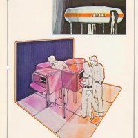 Concept art for Atari Leisure Time Game Center video arcade, 1974