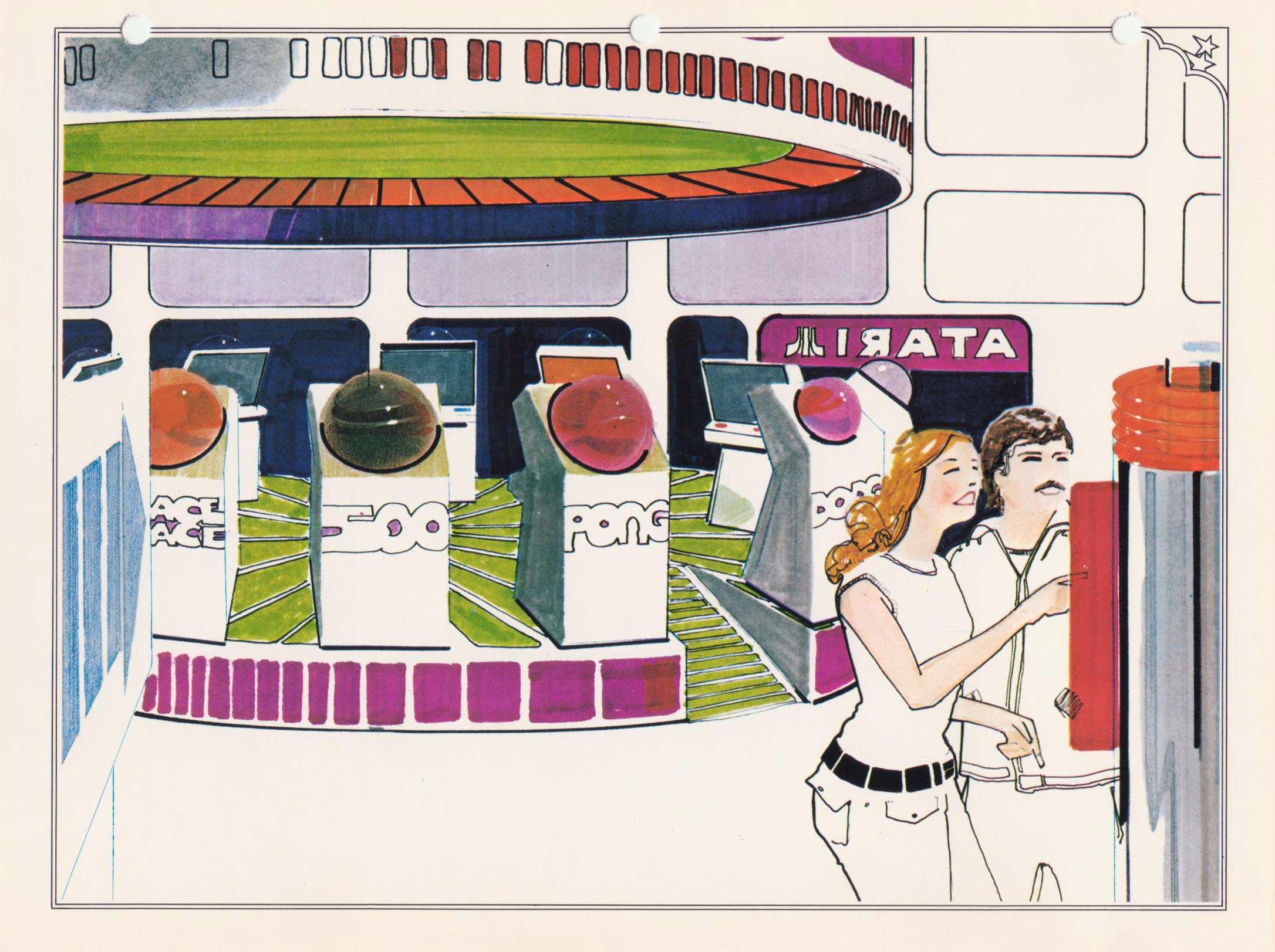 Interior concept art for Atari Leisure Time Game Center video arcade
