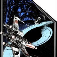 Side art for the Star Wars arcade game by video game company Atari