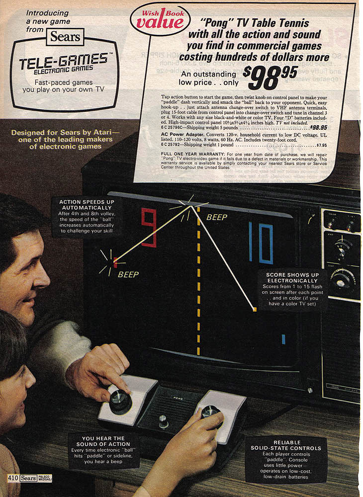 Catalog page for Tele-Games, a home video game system by Atari 1975