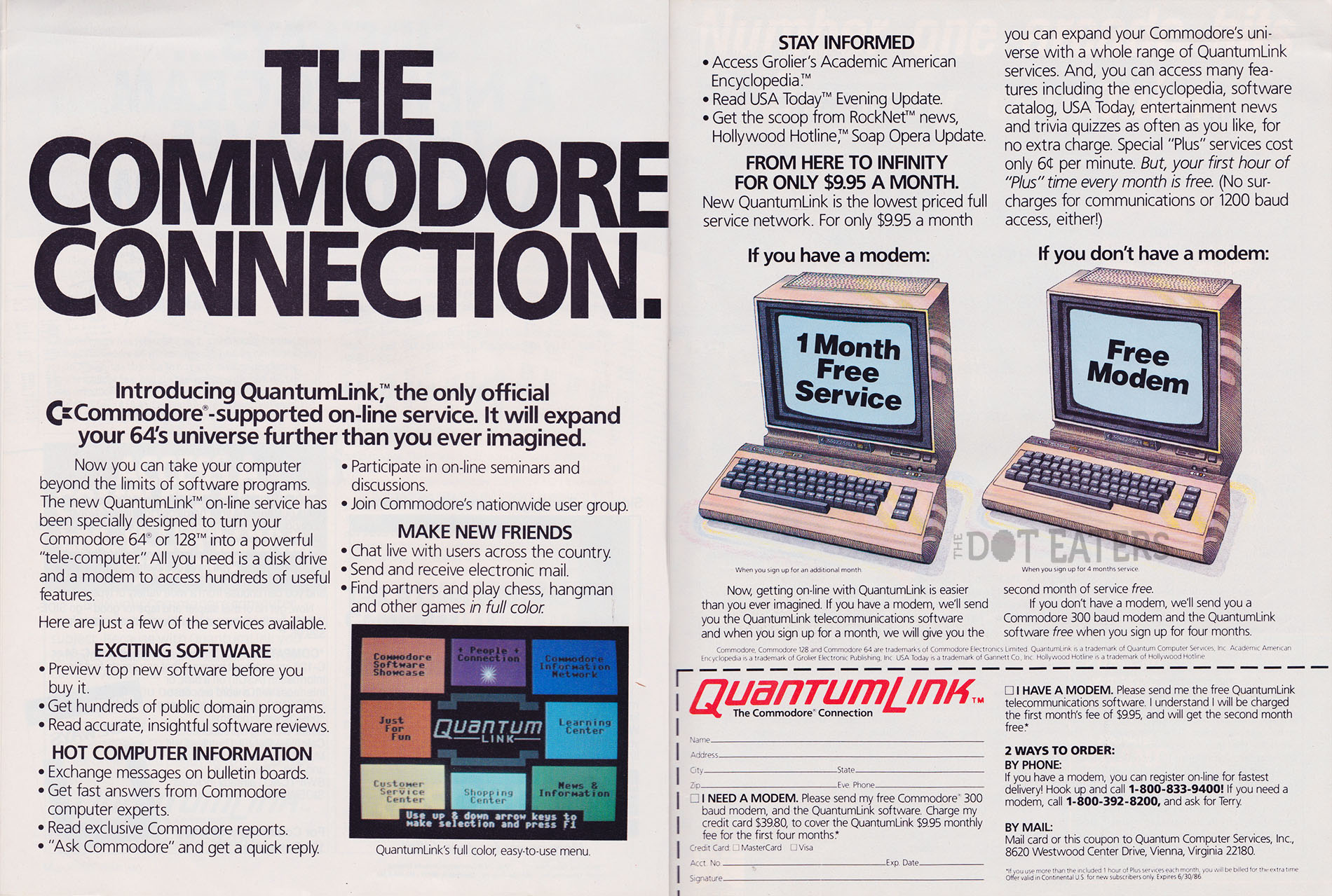 A magazine ad for QuantumLink, an online service for the Atari VCS/2600