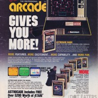An ad for the astrocade, a home video game system by astrocade 1982