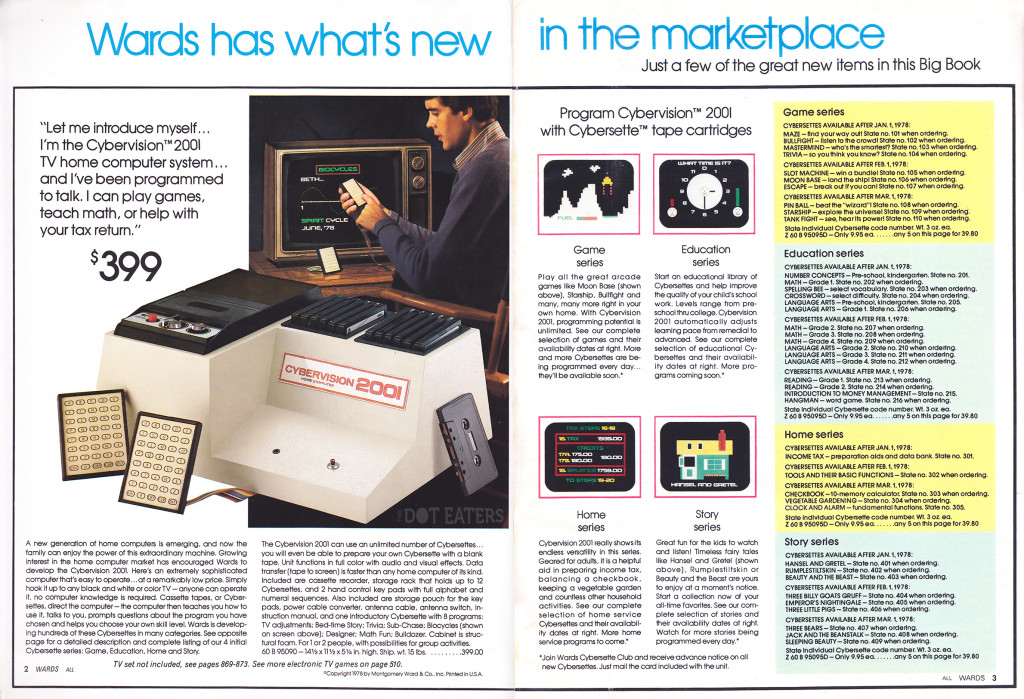 1978 Montgomery Ward catalog page featuring the Cybervision 2001 personal computer