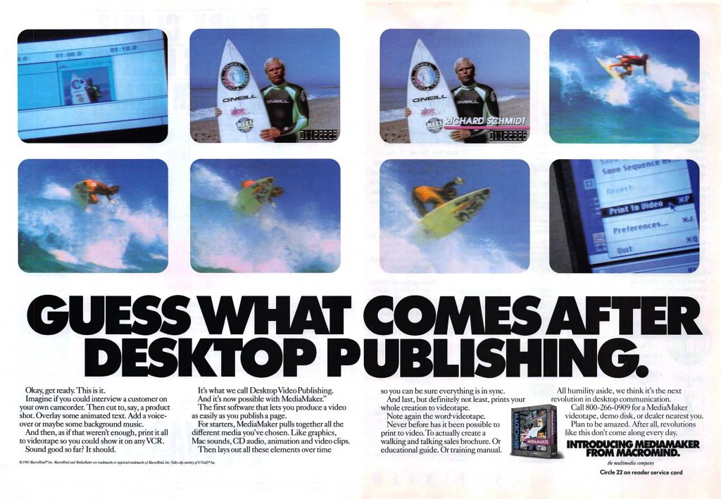 Ad for MediaMaker by MacroMind, featuring former designers for the Bally Professional Arcade home video game console
