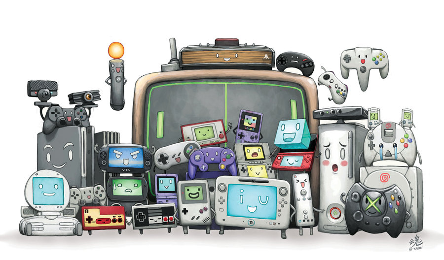 An artist rendition of video game consoles