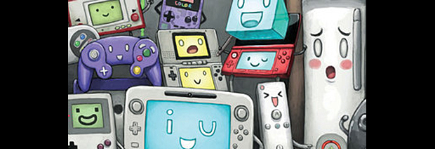 An excerpt from an artist drawing of video game consoles