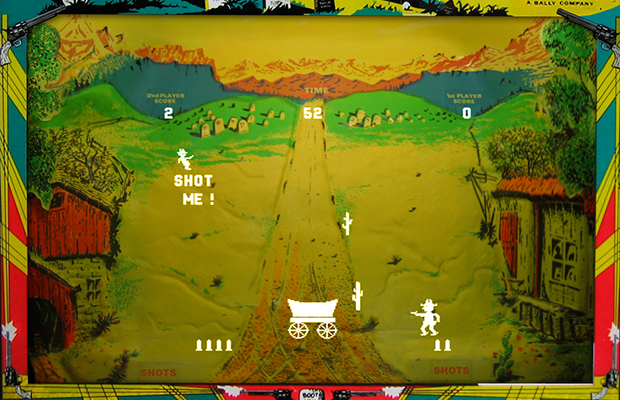 Snap of Boot Hill gameplay, an arcade video game by Midway 1977