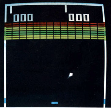 Image of gameplay from Breakout, created by Steve Wozniak and Steve Jobs, for Atari 1976
