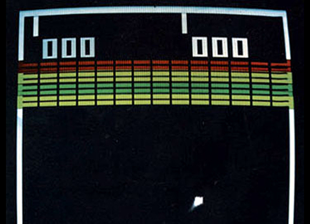 An excerpt of a screenshot from Breakout, a video arcade game by Atari.