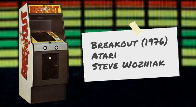 Breakout video arcade game cabinet and screen