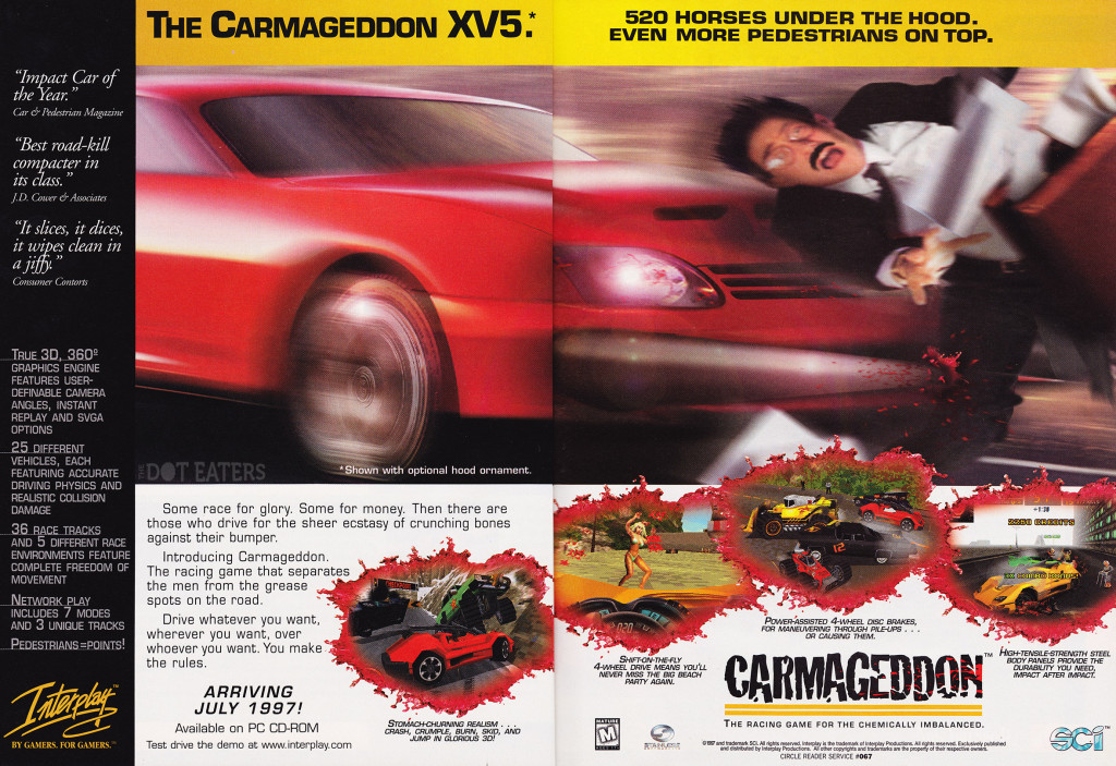 Ad for Carmageddon, a violent video game by Interplay and SCi, 1997.