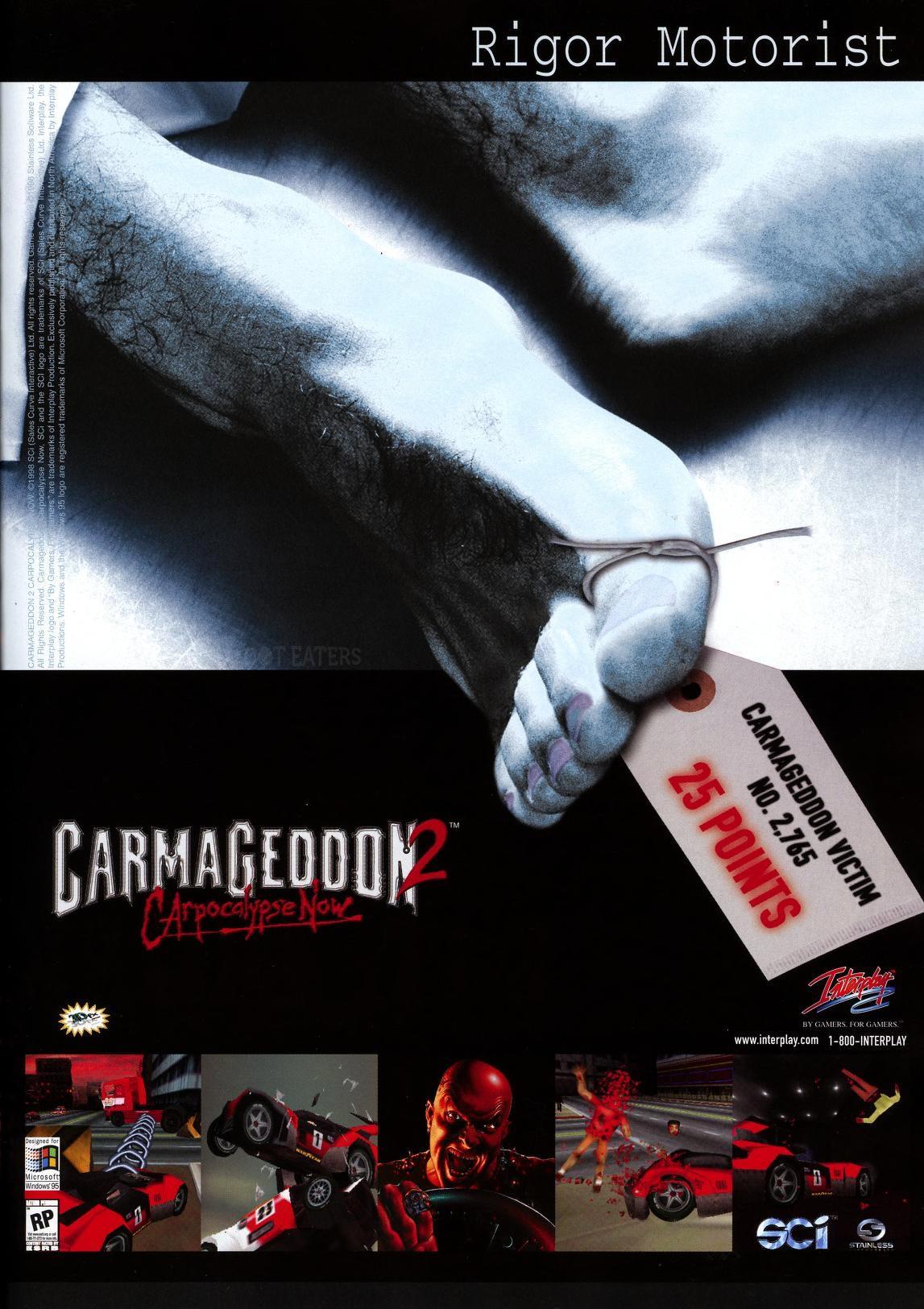 Ad for Carmageddon 2, a violent videogame