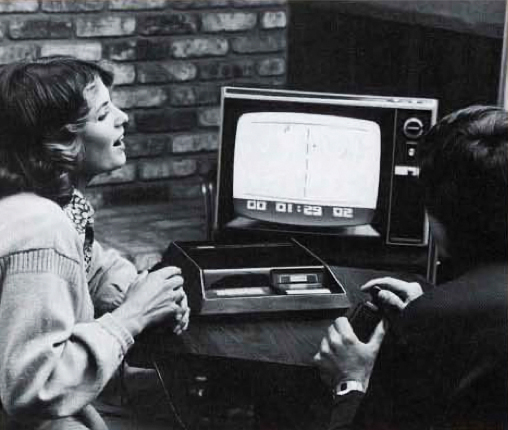 Promo shot of the Channel F, a home video game system by Fairchild 1976