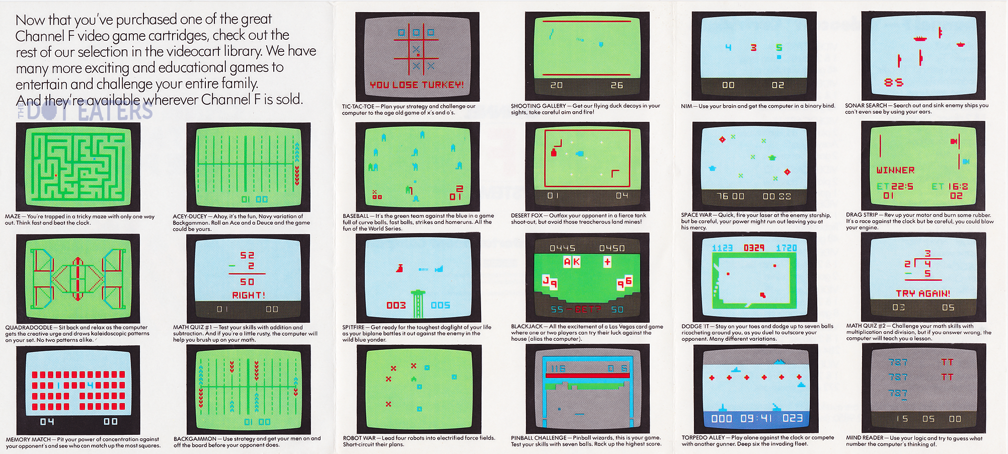 Catalog of games for the Channel F, a home video game system by Fairchild 1976