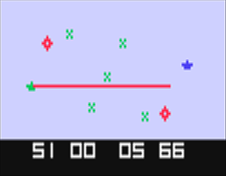 An image of Space War, a video game for the Channel F by Fairchild 1977