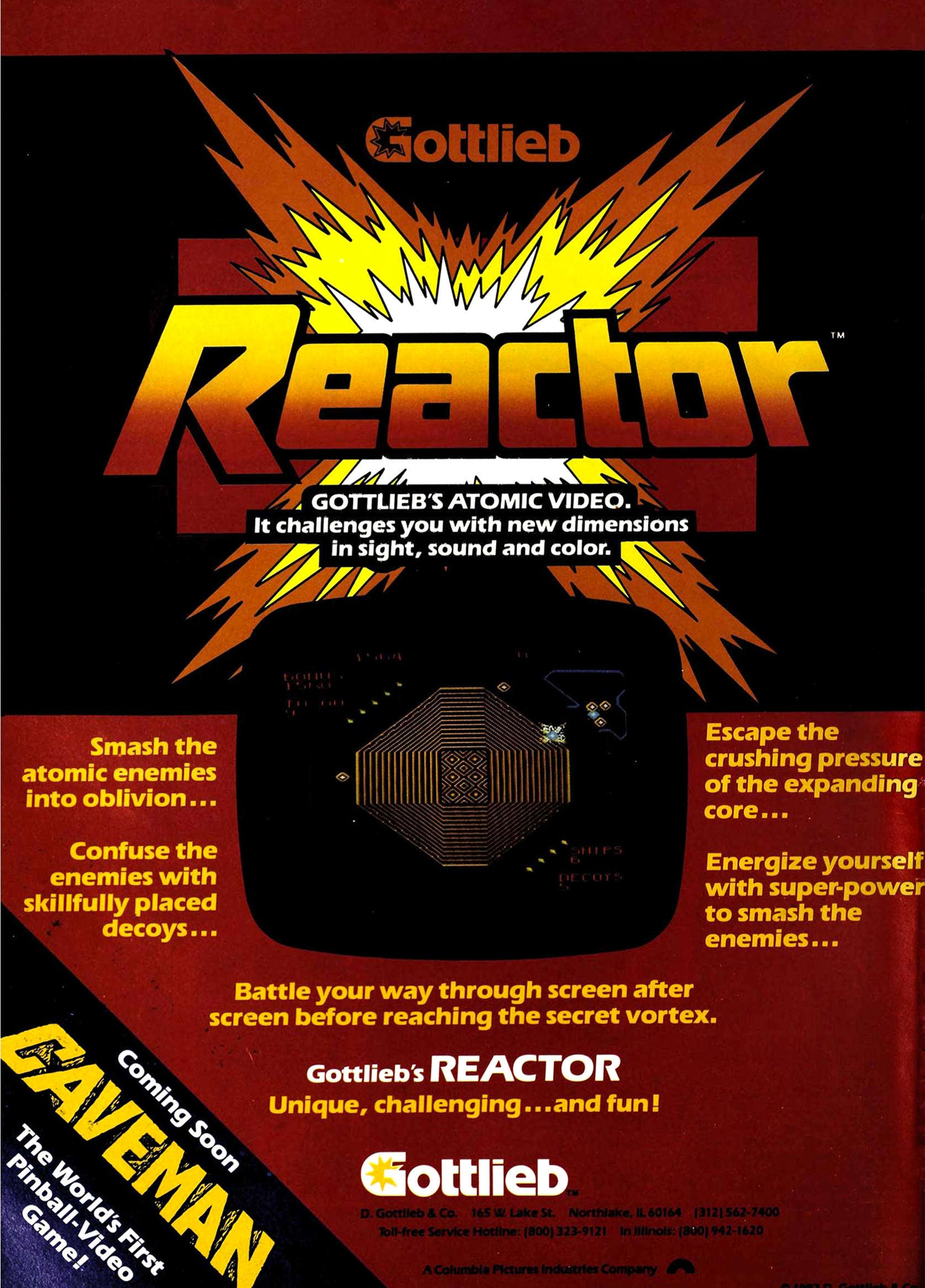 Reactor, an arcade game by Tim Skelly and Gottlieb, 1982