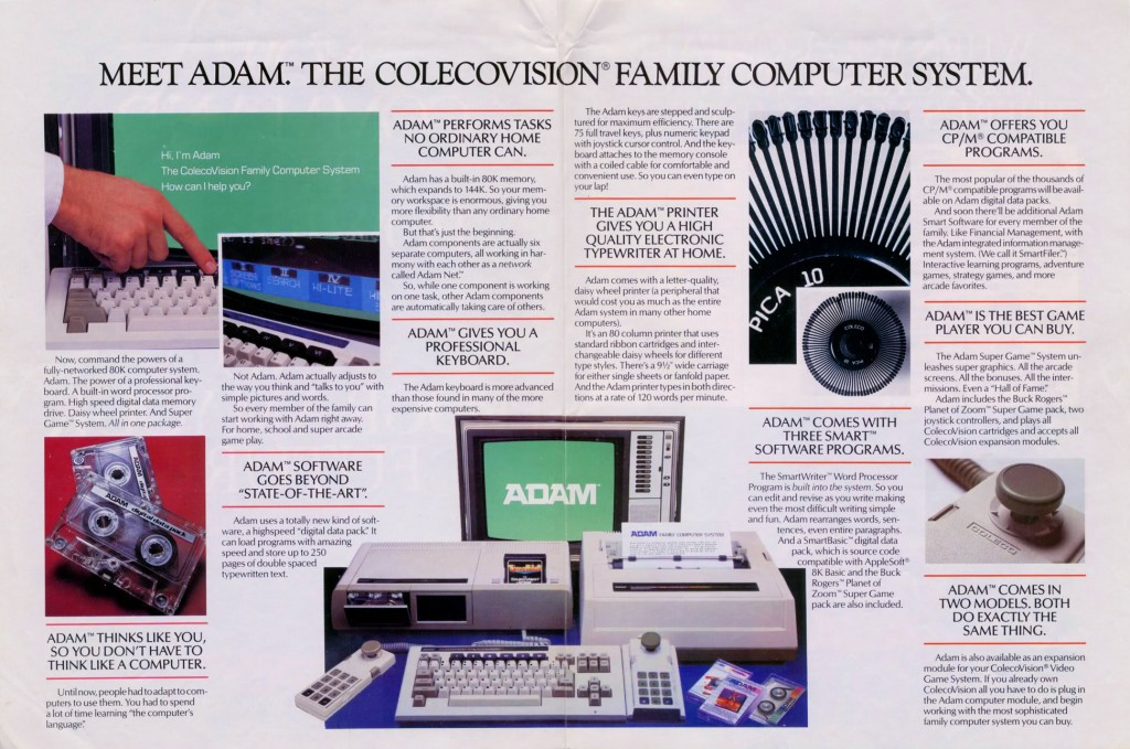 Ad for the ADAM Family Computer System, a home computer by Coleco 1983