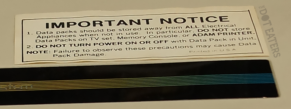 Warning label on ADAM, a home computer system by Coleco 1982