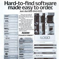 Ad for software for the ADAM home computer system, from Coleco