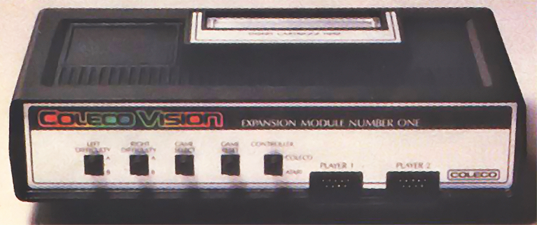 A prototype of the VCS adapter, for the ColecoVision, a home video game system by Coleco 1982