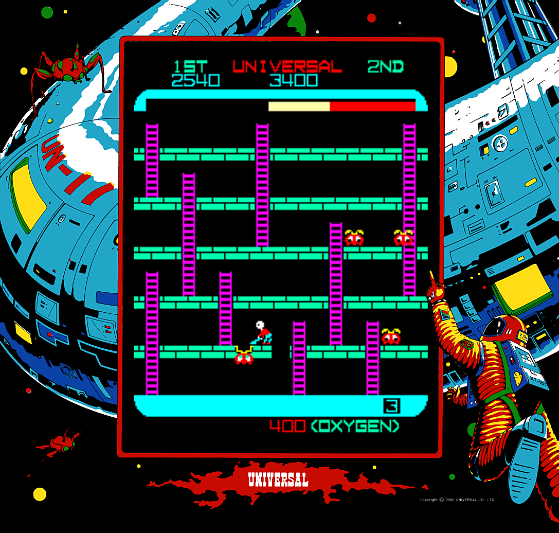 Snap of the arcade version of Space Panic, an arcade video game by Universal 1980