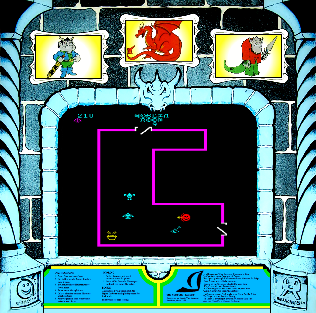 Snap of the arcade version of Venture, Exidy 1981