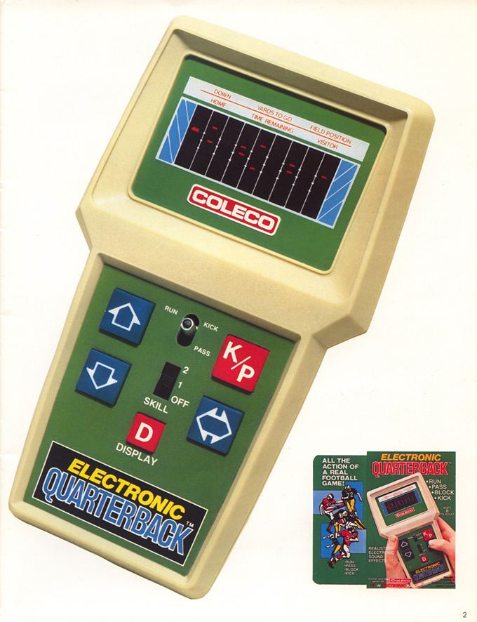 Image of Electronic Quarterback, a handheld electronic game by Coleco 1978