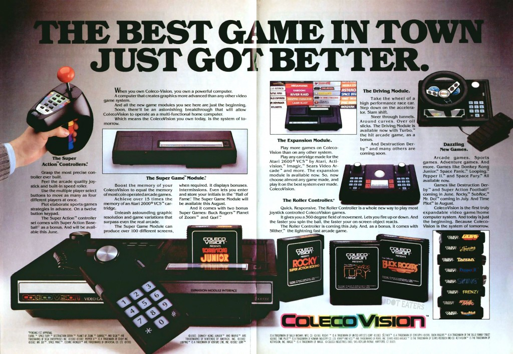 1983 ad for the ColecoVision system, a home video game console by Coleco