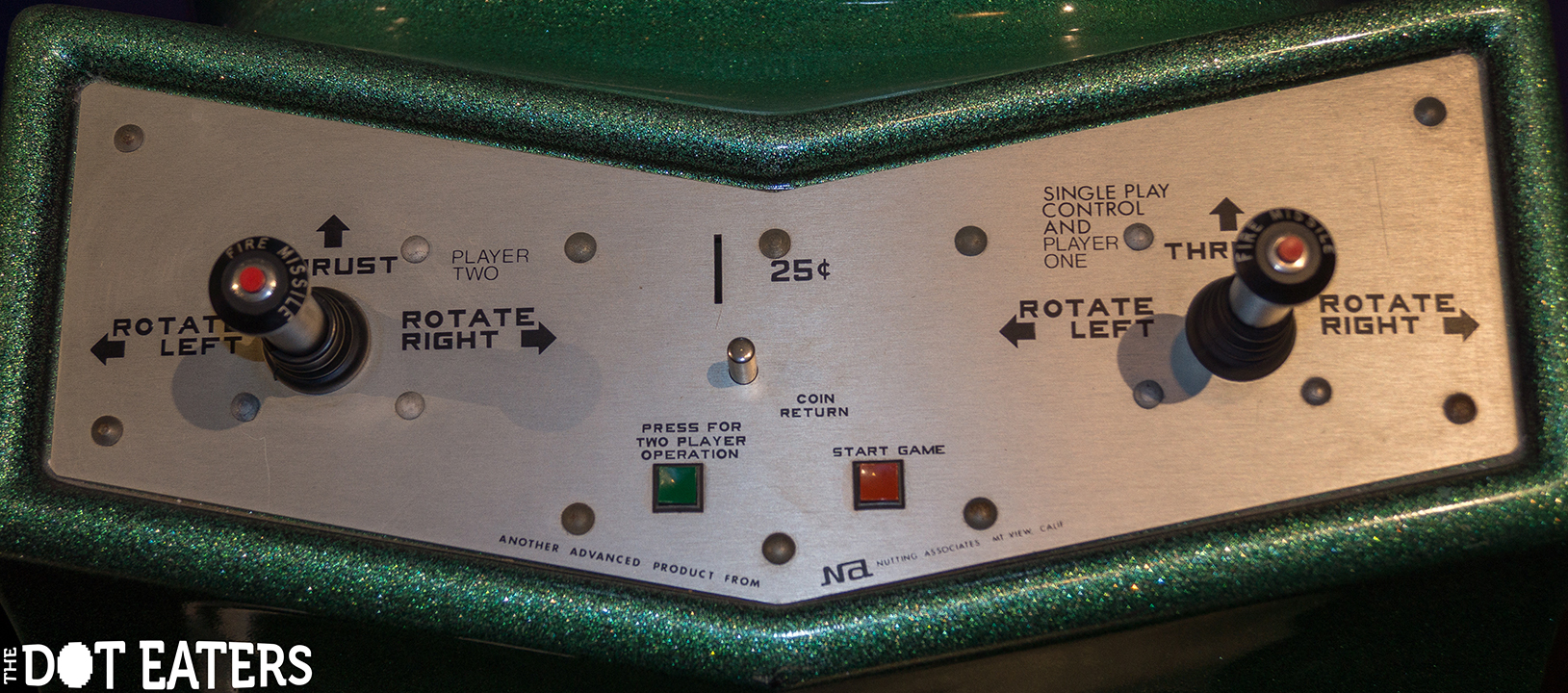 Control panel for 2-player Computer Space, a coin-op video game by Nutting Associates 1973