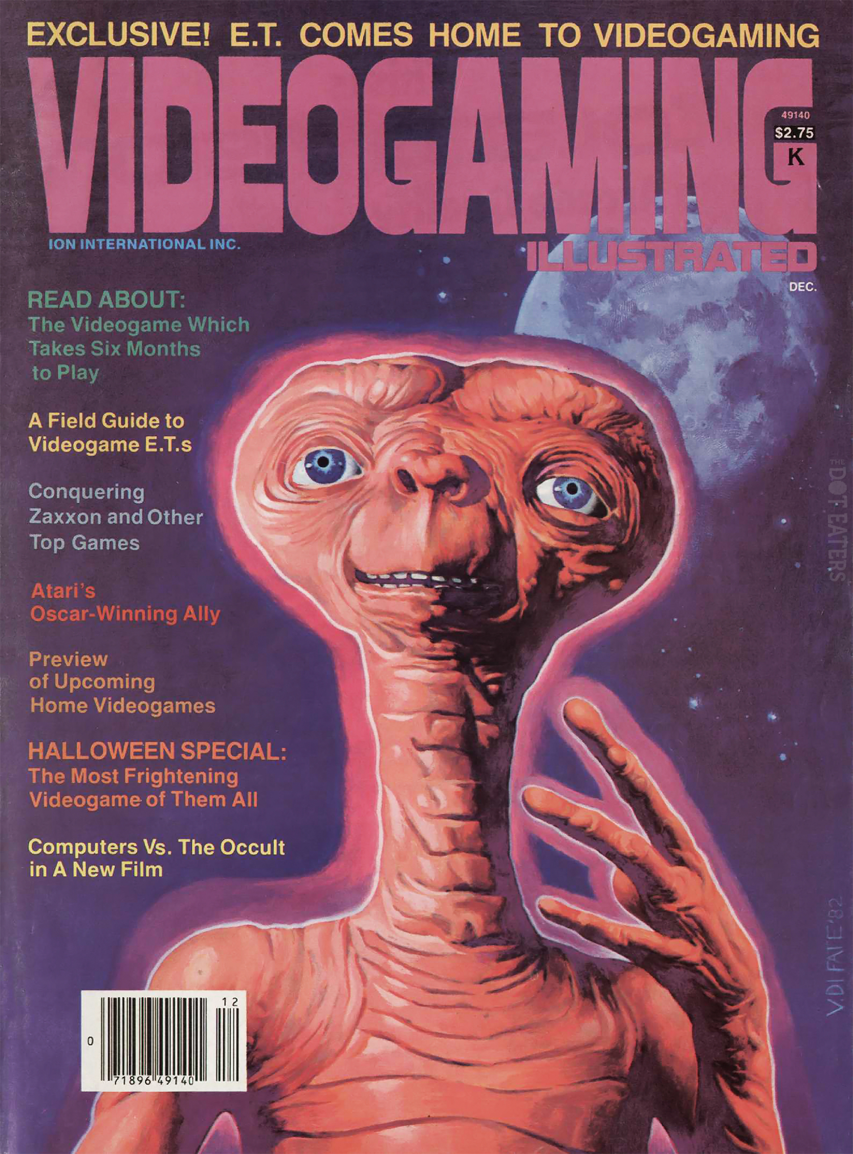 Magazine cover with E.T., star of a home video game by Atari
