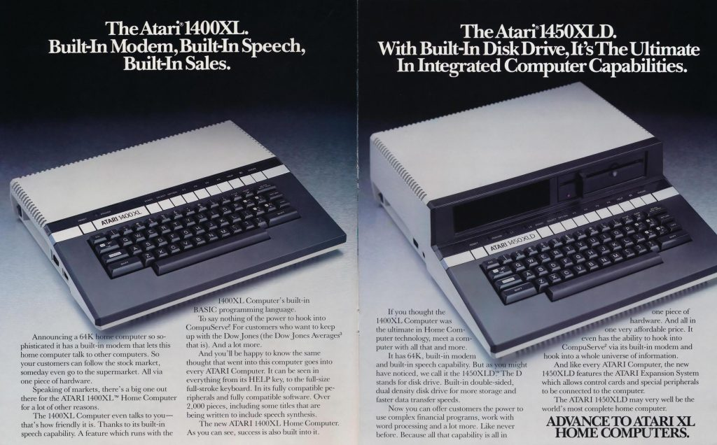 Brochure featuring the 1400XL and 1450XLD home computers by Atari