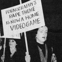 Women protesting porno games like Custer's Revenge, for the Atari 2600 video game console