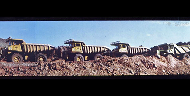 Dump trucks at Alamogordo landfill, loaded with Atari E.T. and other video game cartridges and other equipment