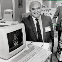 Jack Tramiel, Atari CEO, with the Atari 520ST personal computer