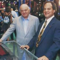 Video game company Atari CEO Sam Tramiel, with former boss Jack Tramiel