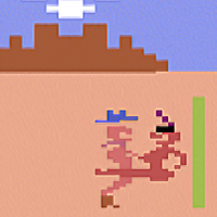 Snapshot of Custer's Revenge, an X-rated video game by Mystique 1983