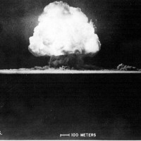 Image of the Trinity nuclear bomb test by the U.S. Military 1945