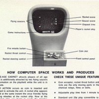 Computer Space, an arcade video game by Syzygy/Nutting Associates, 1971