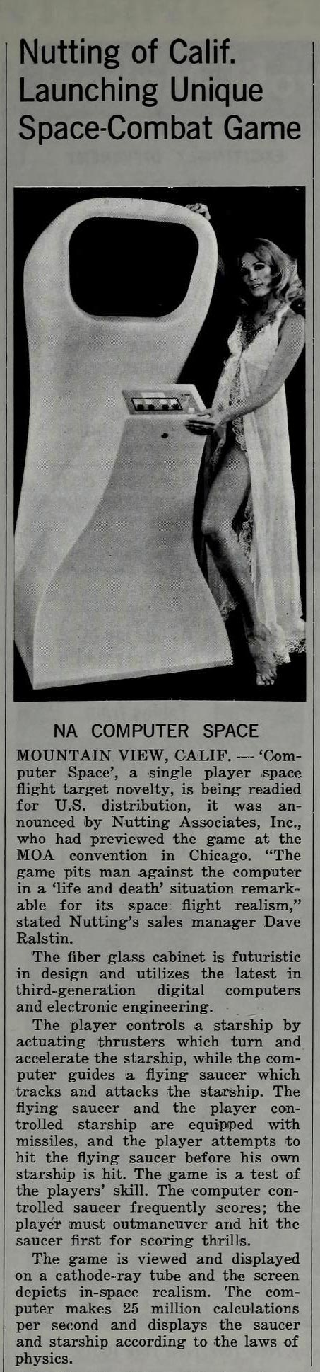 Magazine article for Computer Space, the first commercial video game