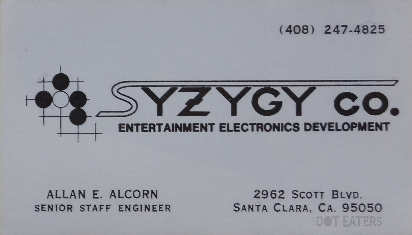 Business card for Al Alcorn, creator of PONG, an arcade video game by Syzygy/Atari 1972